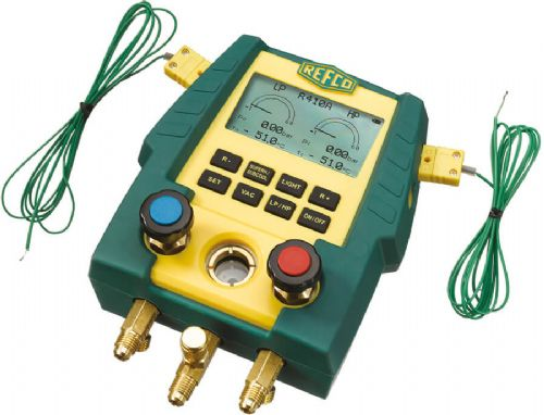 Refco Digimon 2 Way Manifold with 5 Charging Lines, Vacuum Hose, Temp Probe, Case